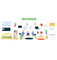 character work at home set vector image