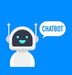 Chatbot icon cute smiling robot chat bot say hi vector