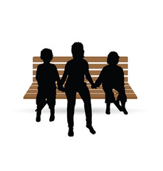 children sitting on the brown bench vector image