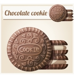 Chocolate cookie 2 detailed icon vector