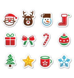 Christmas colorful icons set - Santa present tre vector image