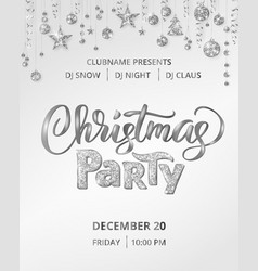 Christmas party poster template with hand vector