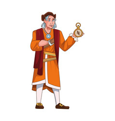 Christopher columbus with compass character vector