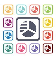 Circle diagram flat icons set vector