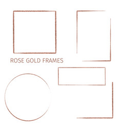 collection five rose gold frames hand drawn vector image
