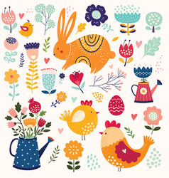 Collection spring elements vector