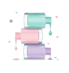 Colorful Nail Polish Set Dripping vector image