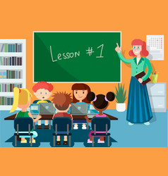 Computer science lesson flat vector