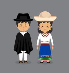 Couple character wearing ecuador national dress vector