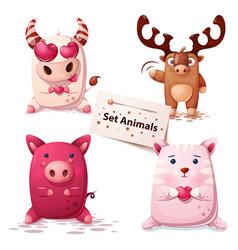 Cow deer pig cat -set animals vector