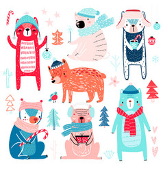 cute bears in winter clothes childish characters vector image