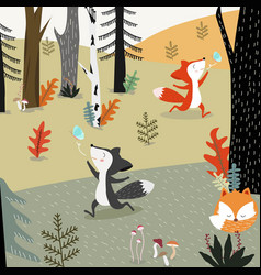 Cute fox in spring forest cartoon vector