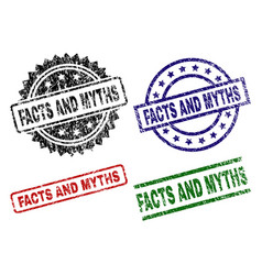damaged textured facts and myths seal stamps vector image