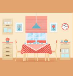 Dining room interior flat design vector