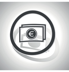 Euro banknote sign sticker curved vector
