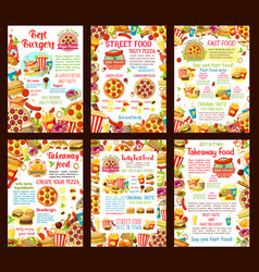 fastfood restaurant menu posters vector image