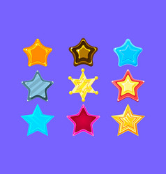 Five-point colorful cartoon star collection for vector