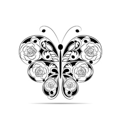 Floral black pattern in a shape of a butterfly vector image