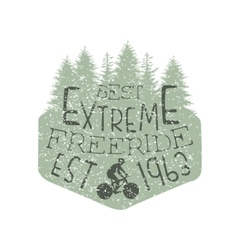 Forest Silhouette Freeride Vintage Label vector image