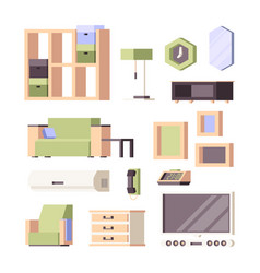 furniture flat living room interior items vector image