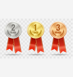 gold silver bronze winner badges vector image