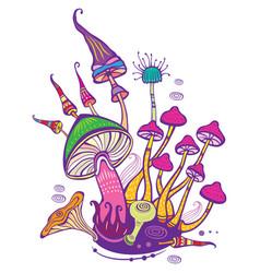 Group decorative mushrooms vector