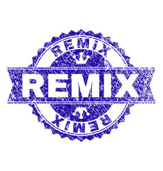 Grunge textured remix stamp seal with ribbon vector