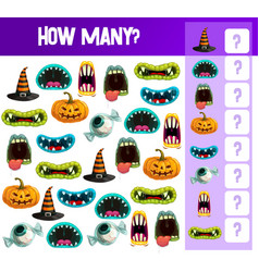 halloween counting game template kids education vector image