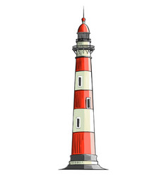 hand drawn sketch of a lighthouse in color vector image