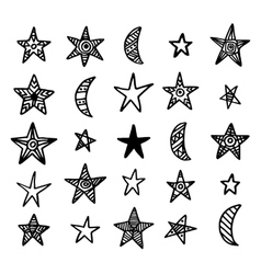 Hand drawn star and moon doodles collection vector