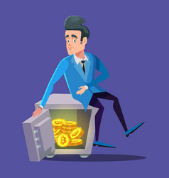 Happy businessman sitting on safe full of bitcoin vector