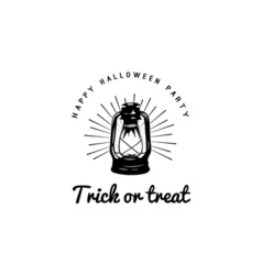 Happy halloween trick or treat night party lable vector