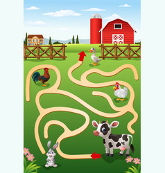 Help the cow to find the farm vector