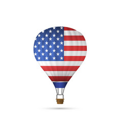 Hot air balloon with american flag vector