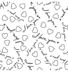 I Love You Phrase and Hearts Seamless Pattern vector