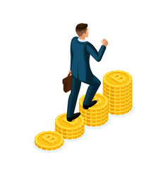 isometric businessman climbs a hill of gold coins vector image