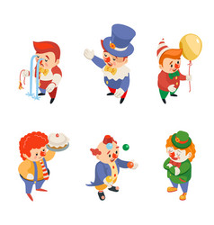 isometric circus party fun carnival clowns funny vector image