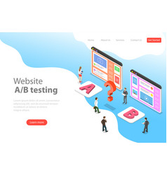 Isometric flat landing page template of ab vector