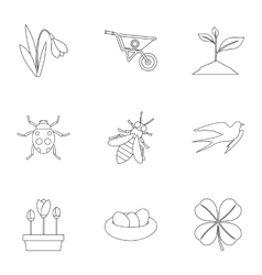 Kaleyard icons set outline style vector image