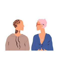Lesbian love couple two trendy women standing vector