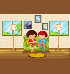 Living room scene with two boys eating snack vector