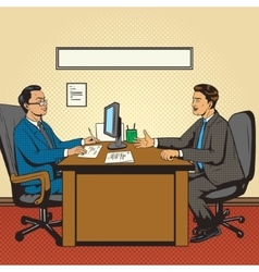 Men in office talk pop art retro style vector image