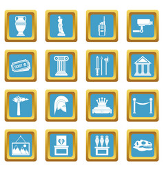 Museum icons azure vector
