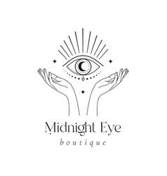 Mystic eye logo design magical shine crescent vector