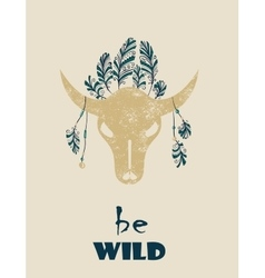 Native Indian-American tribal decorative bull vector image