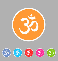 Om aum hinduism map location pointer icon flat web vector