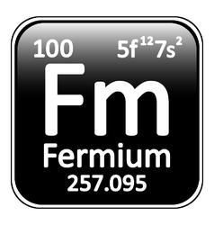 Periodic table element fermium icon vector