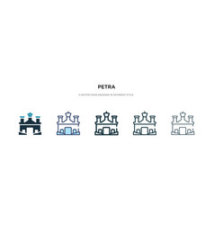 Petra icon in different style two colored vector