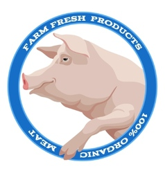 Pig label blue vector