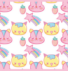 Punchy pastel cute animals background pattern vector